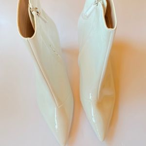 RAYE White Patent Leather Ankle Boots